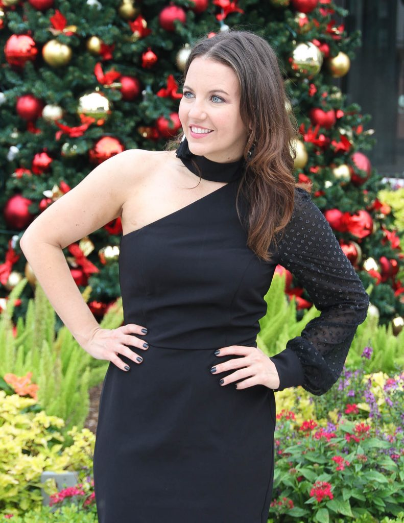 One Sleeve Black Dress | Holiday Party Outfit | Houston Fashion Blogger Lady in Violet