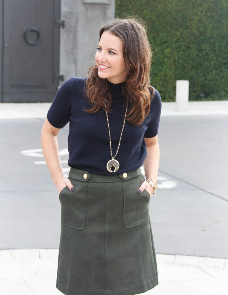 Workwear | Navy Mockneck Sweater | Olive Skirt | Houston Fashion Blogger Lady in Violet