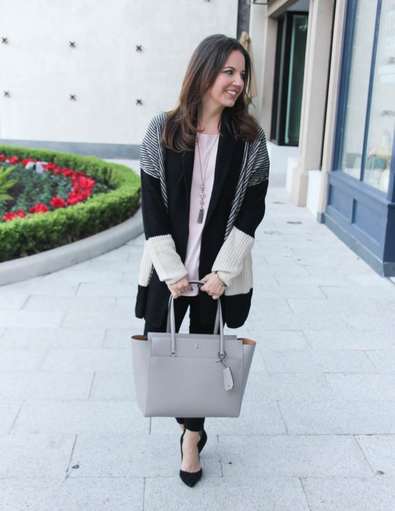 Casual Winter Outfit | Colorblock Cardigan | Gray Tote Bag | Houston Fashion Blogger Lady in Violet