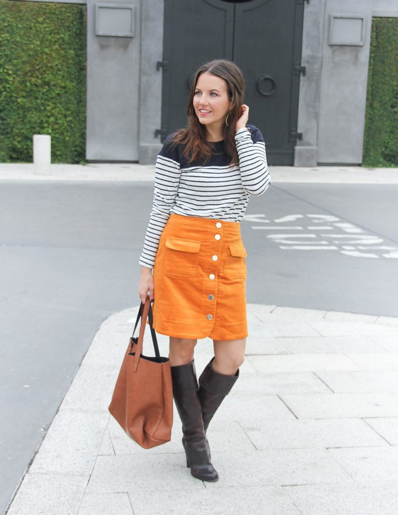 Fall Outfit | Corduroy Skirt | Brown Riding Boots | Houston Fashion Blog Lady in Violet