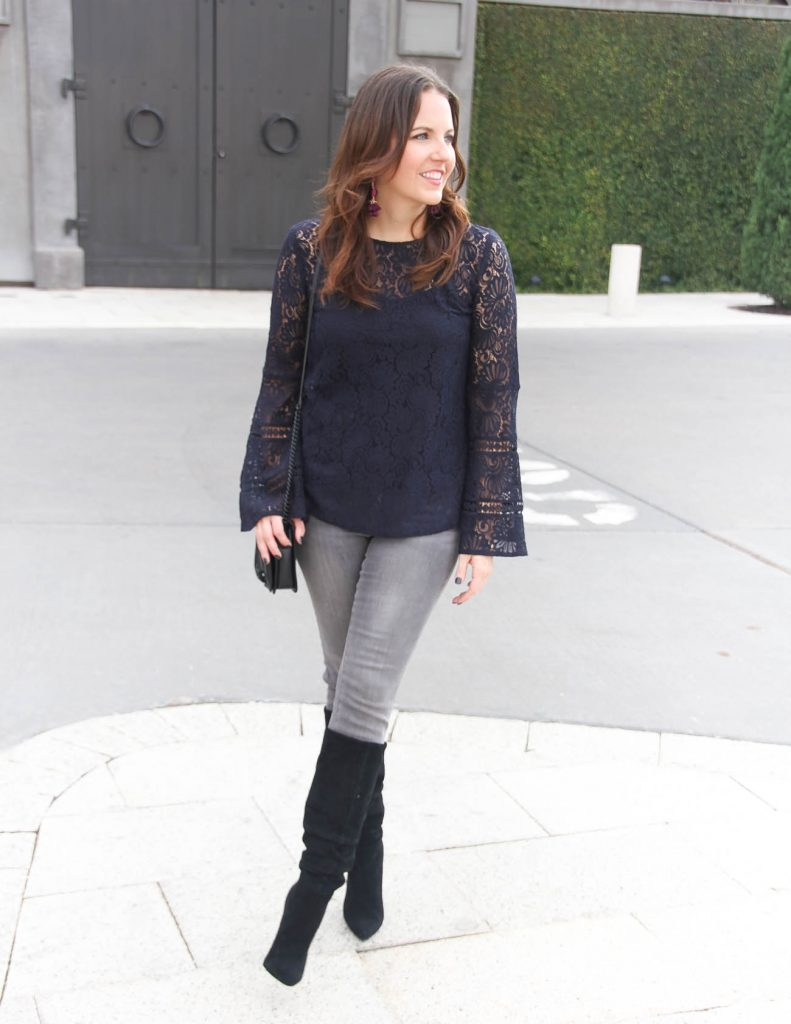 Fall Outfit | Lace Top | Black Boots | Houston Fashion Blogger Lady in Violet