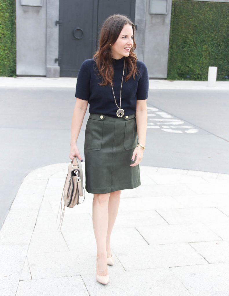 Fall Work Outfit | Olive Suede Skirt | Navy Sweater | Houston Fashion Blogger Lady in Violet