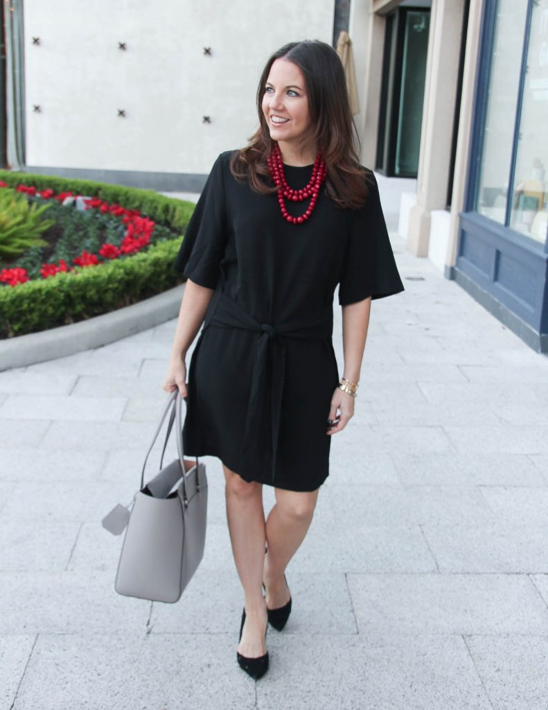Workwear Outfit | Black Dress | Red Necklace | Houston Fashion Blogger Lady in Violet