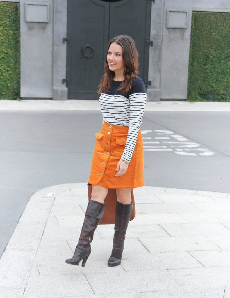 Fall Outfit | Corduroy Skirt | Brown Heeled Boots | Houston Fashion Blog Lady in Violet