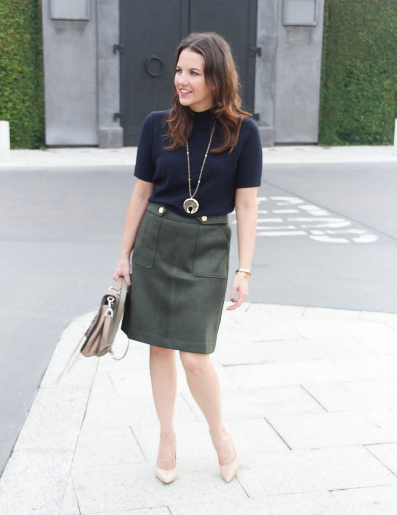 Fall Outfit | Olive Suede Skirt | Stone Pendant Necklace | Houston Fashion Blogger Lady in Violet