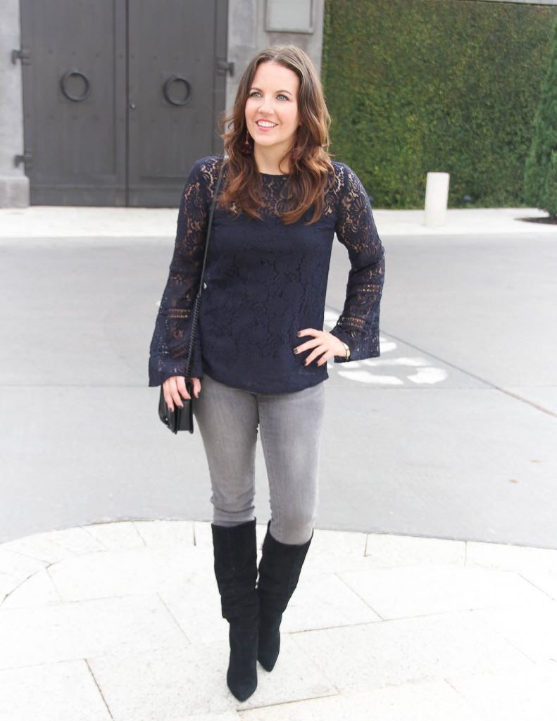 Winter Outfit | Bell Sleeve Lace Top | Gray Skinny Jeans | Houston Fashion Blog Lady in Violet