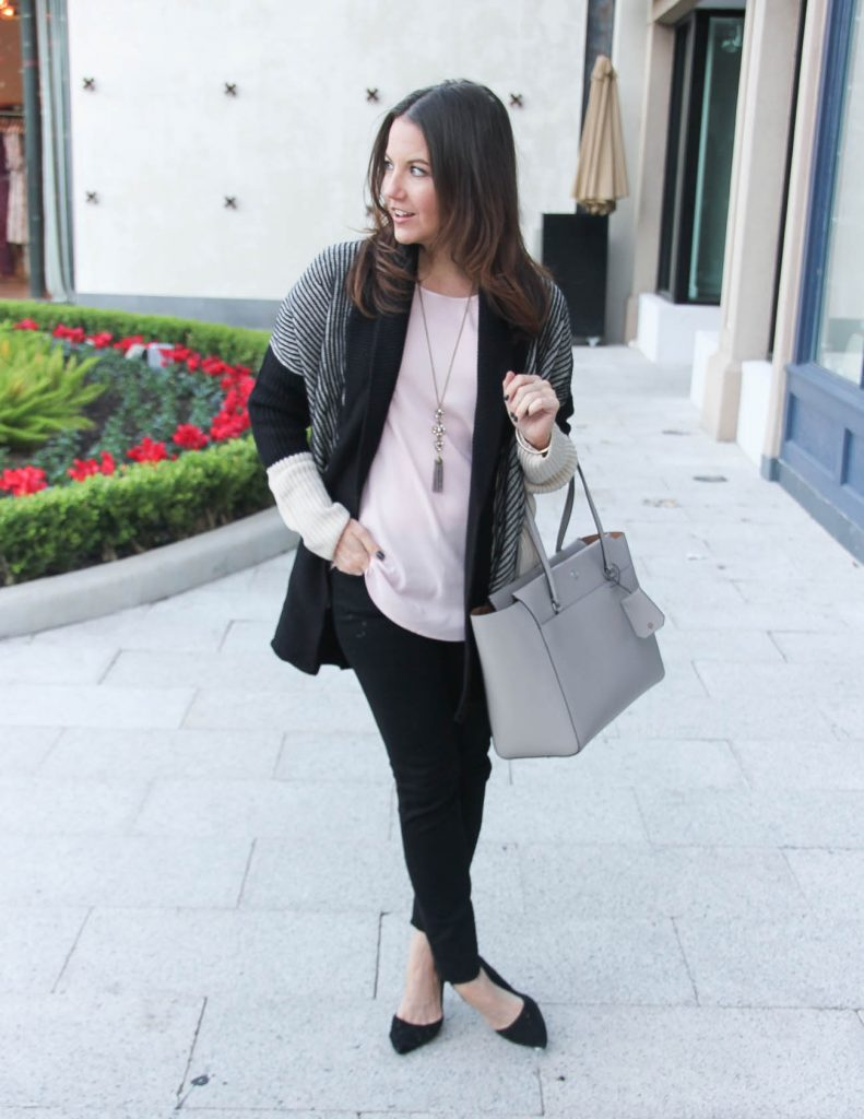 Winter Outfit | Striped Cardigan | Black Skinny Jeans | Houston Fashion Blogger Lady in Violet
