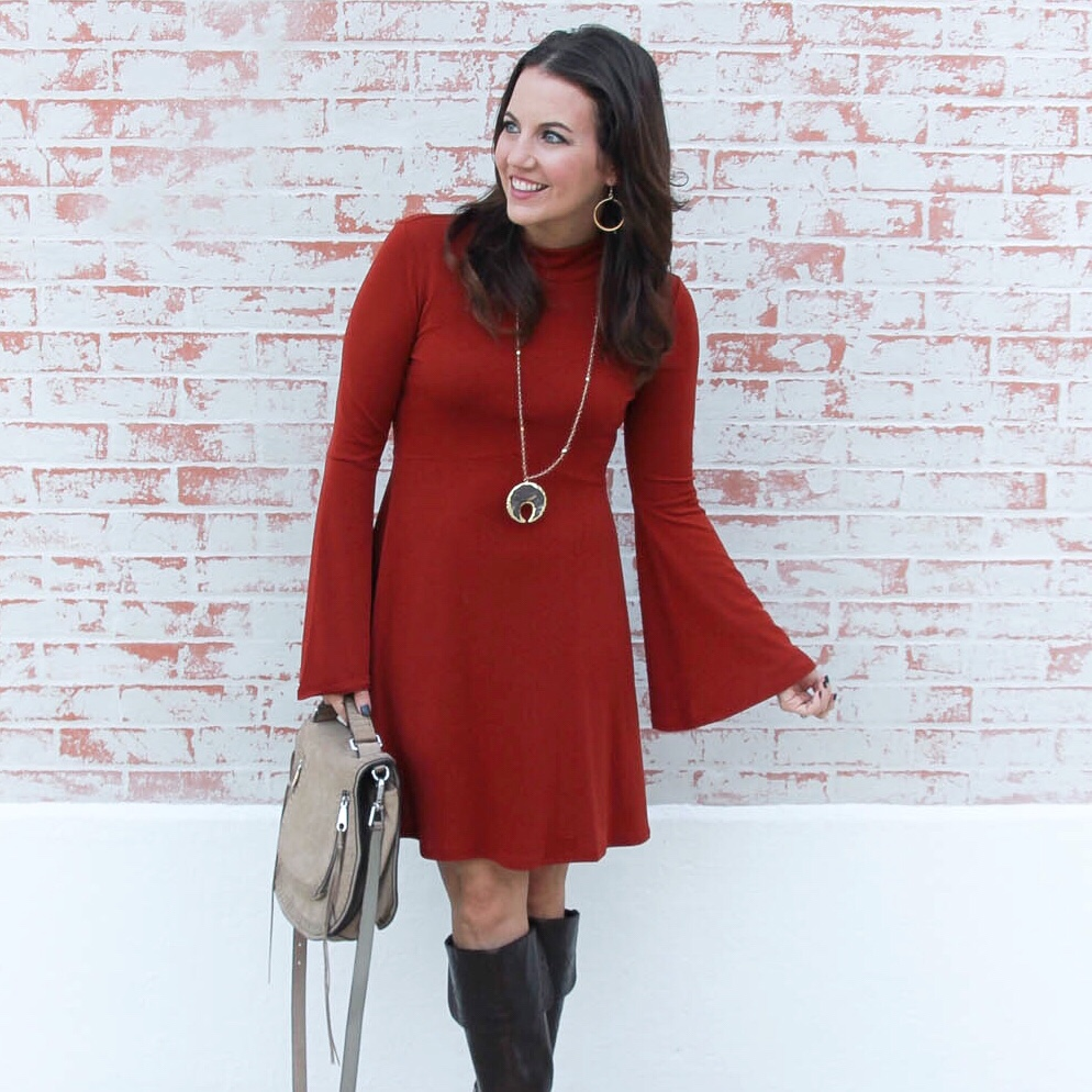 Fall Fashion | Orange Bell Sleeve Dress | Houston Fashion Blogger Lady in Violet