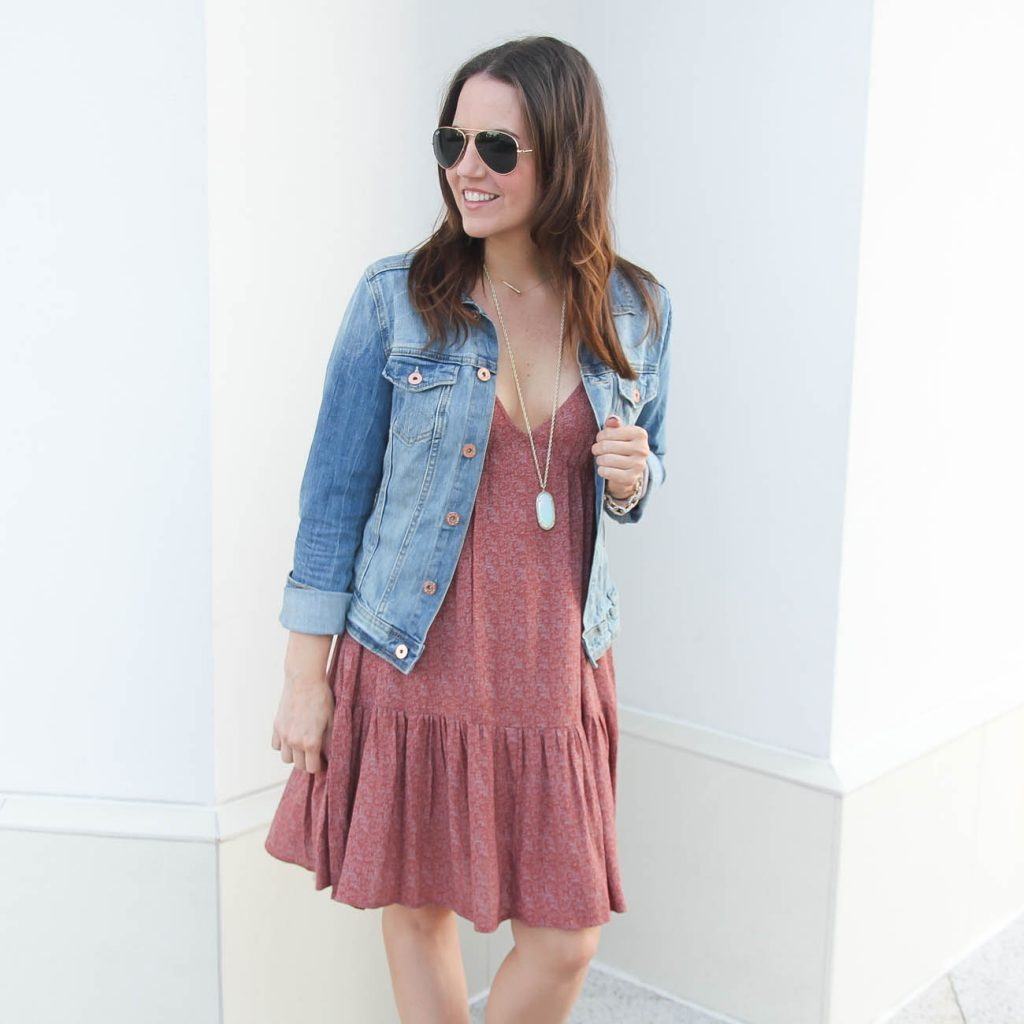 Fall Outfit | Sundress with Denim Jacket | Houston Fashion Blogger | Lady in Violet