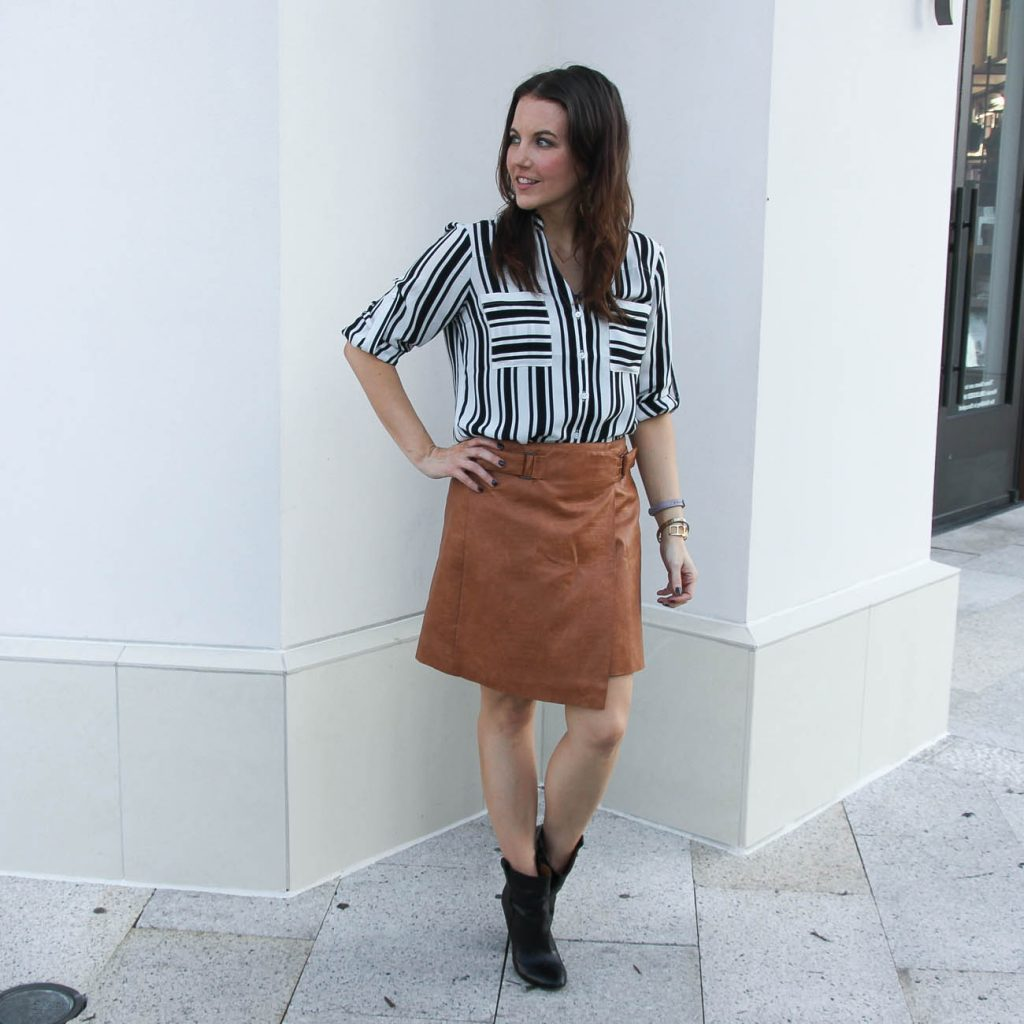 Fall Work Outfit | Leather Skirt | Striped Blouse | Lady in Violet Fashion Blog