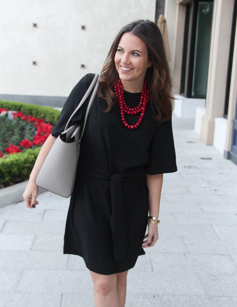 Black Work Dress | Red Necklace | Tory Burch Tote Bag | Houston Fashion Blogger Lady in Violet