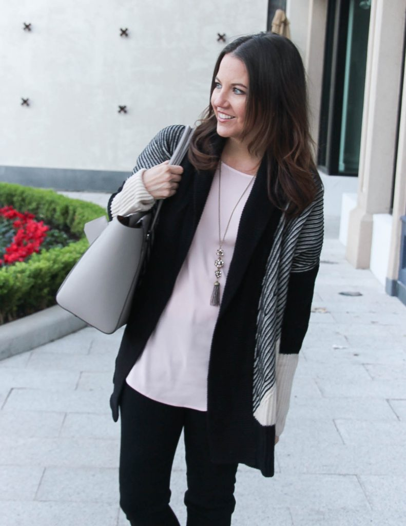 Fall Outfit   Striped Cardigan   Long Pendant Necklace   Houston Fashion Blogger Lady in Violet