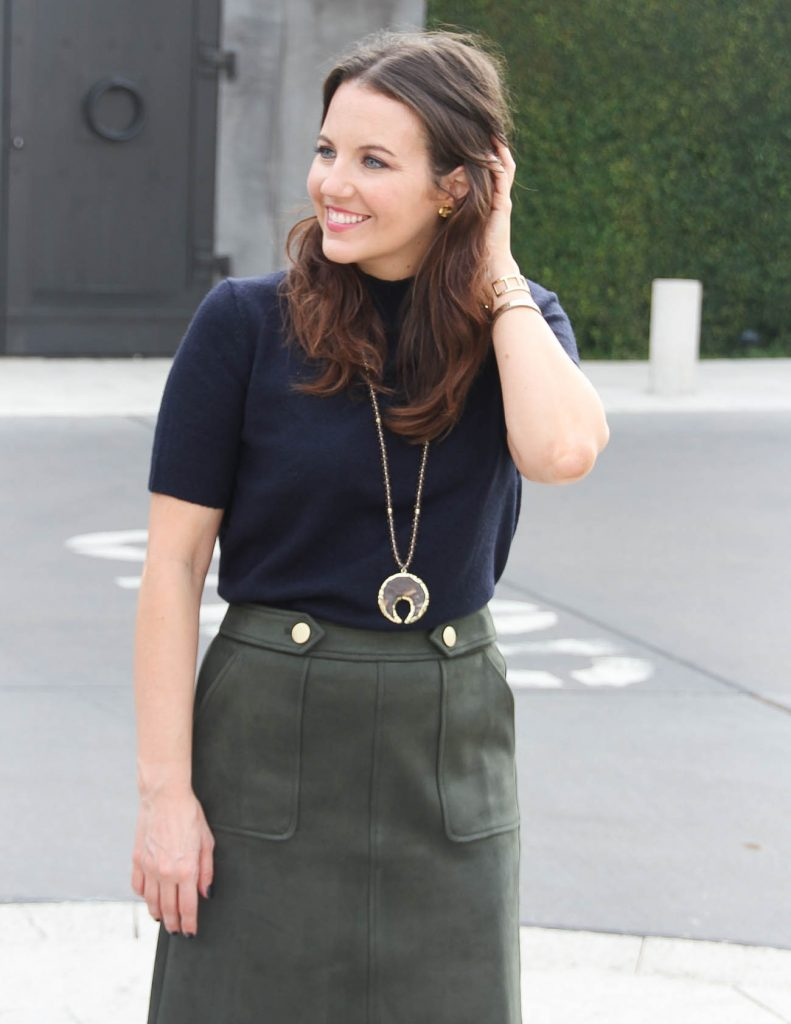Fall Workwear | Navy Turtleneck sweater | Stone necklace | Houston Fashion Blogger Lady in Violet
