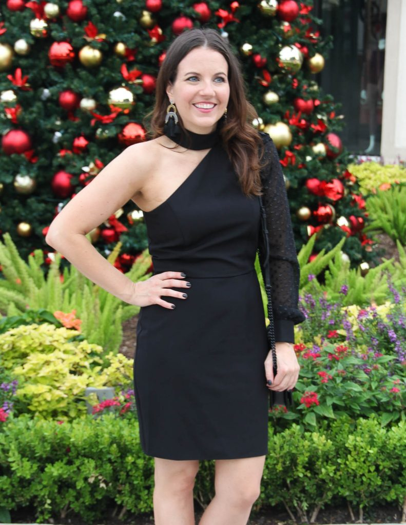 Holiday Party Outfit | Little Black Dress | Statement Earrings | Houston Fashion Blogger Lady in Violet