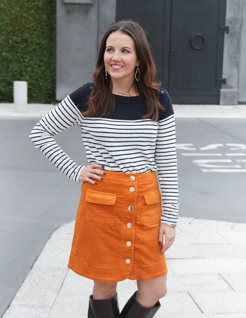 How to wear a corduroy skirt in fall | Houston Fashion Blogger Lady in Violet
