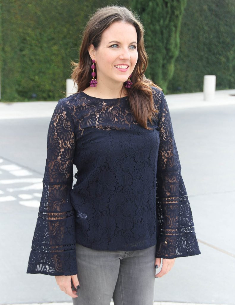 Navy Lace Top | Plum Ball Earrings | Holiday Outfit | Houston Fashion Blogger Lady in Violet