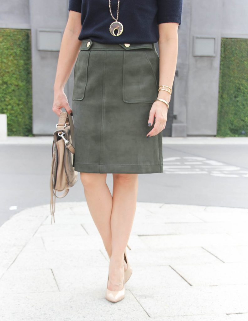 Fall Outfit | Olive Suede Skirt for Work | Houston Fashion Blog Lady in Violet