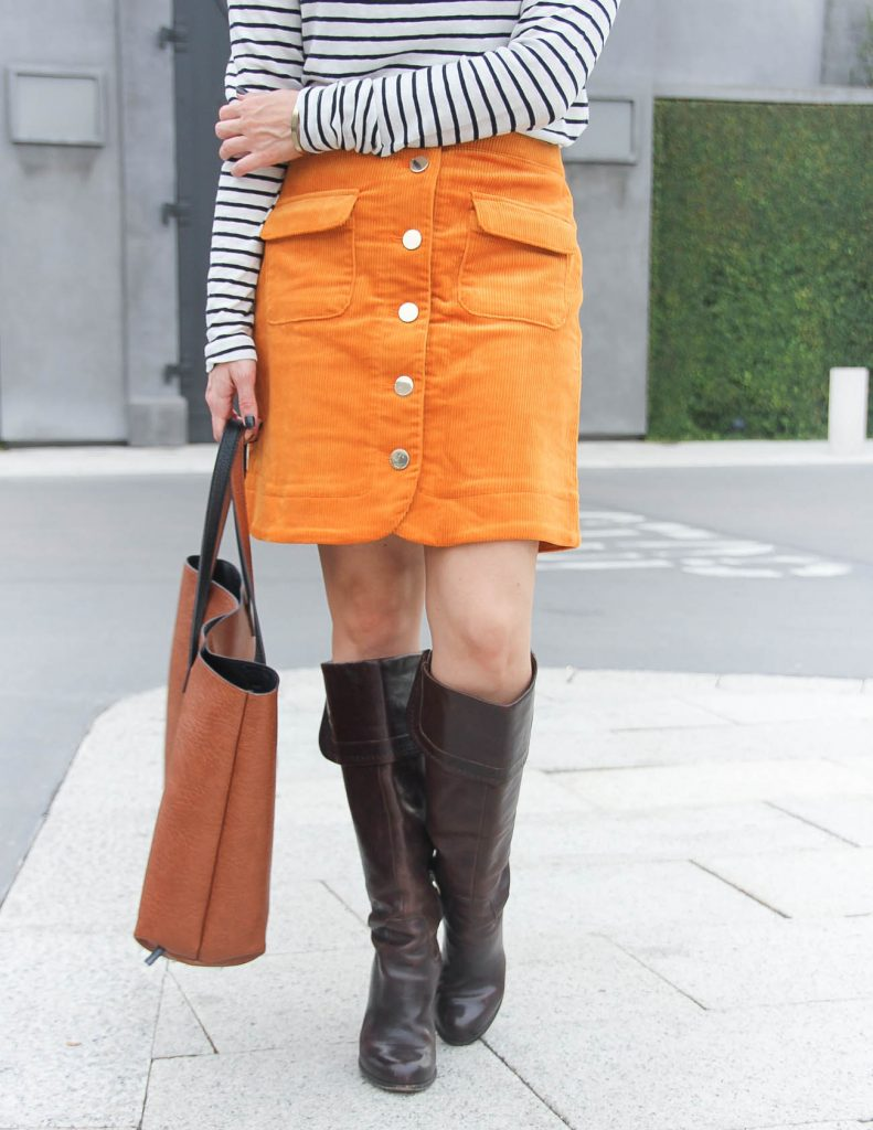 Orange Corduroy Skirt | Brown Riding Boots | Work Outfit | Lady in Violet Fashion Blog