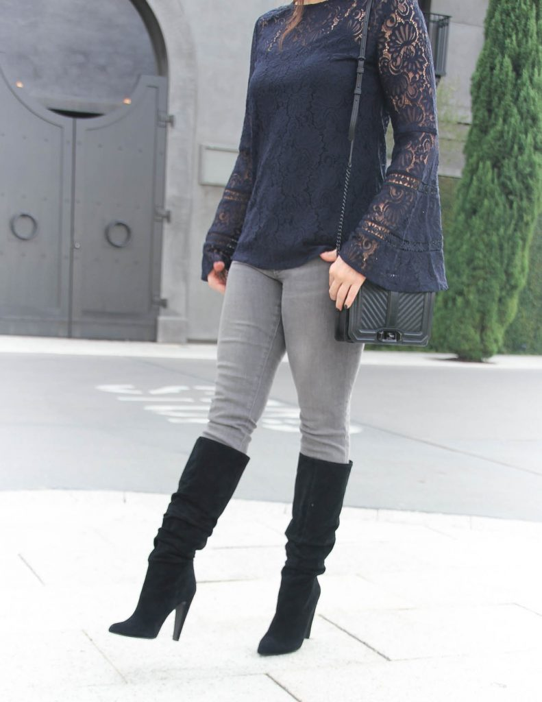 Winter Date Night Outfit | Lace Top | Black Slouchy Boots | Houston Fashion Blogger Lady in Violet