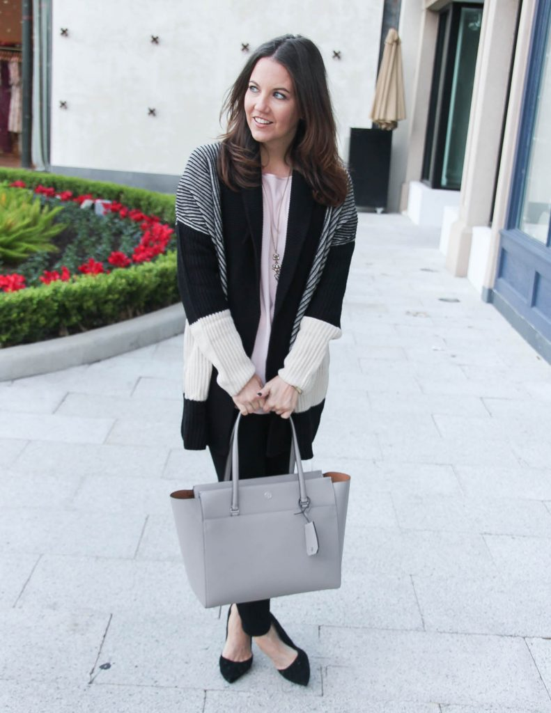 Casual Winter Outfit | Striped Cardigan | Tory Burch Tote Bag | Houston Fashion Blogger Lady in Violet
