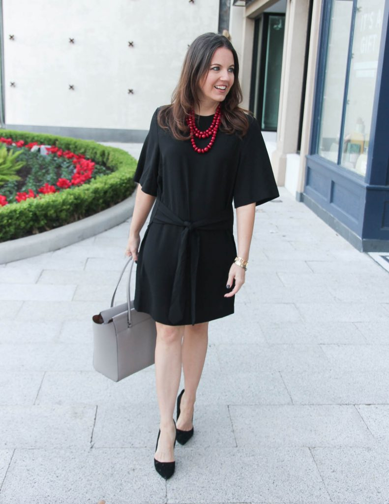 Fall Outfit | Black Work Dress | Gray Tote Bag | Houston Fashion Blogger Lady in Violet