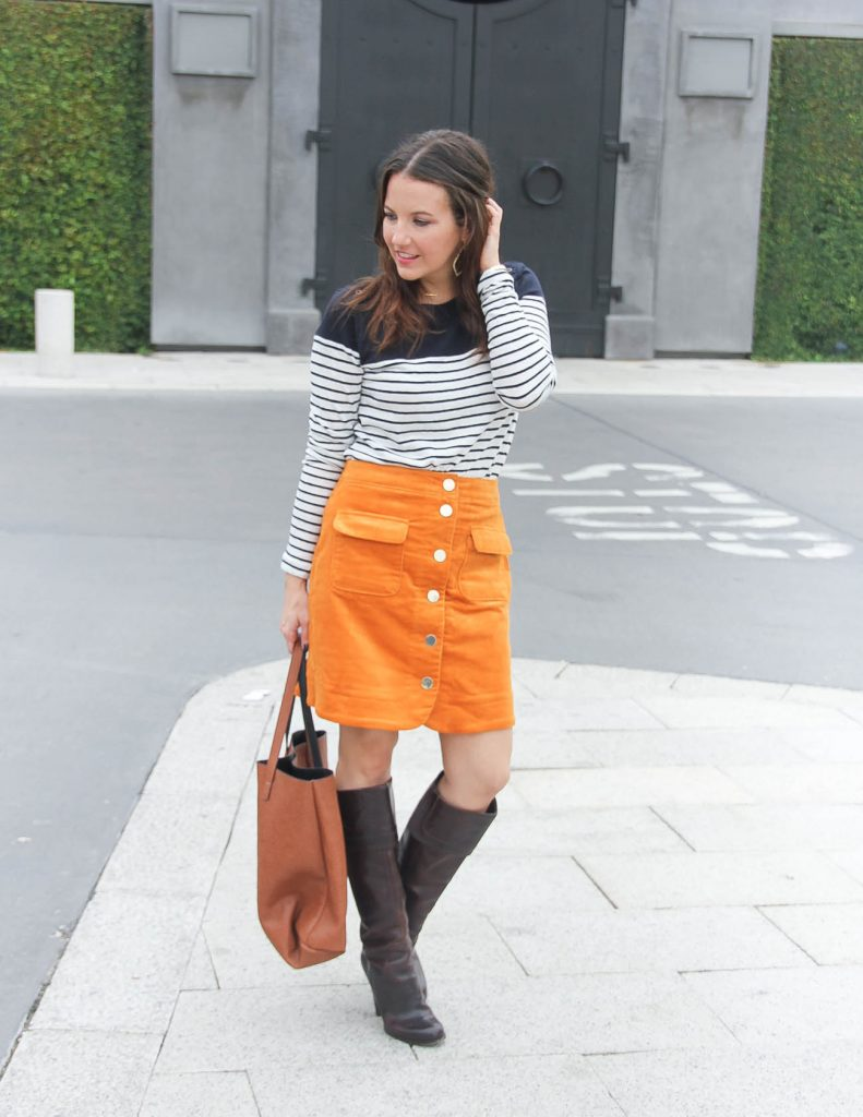 Fall Outfit | Corduroy Skirt | Striped Tee | Houston Fashion Blogger Lady in Violet