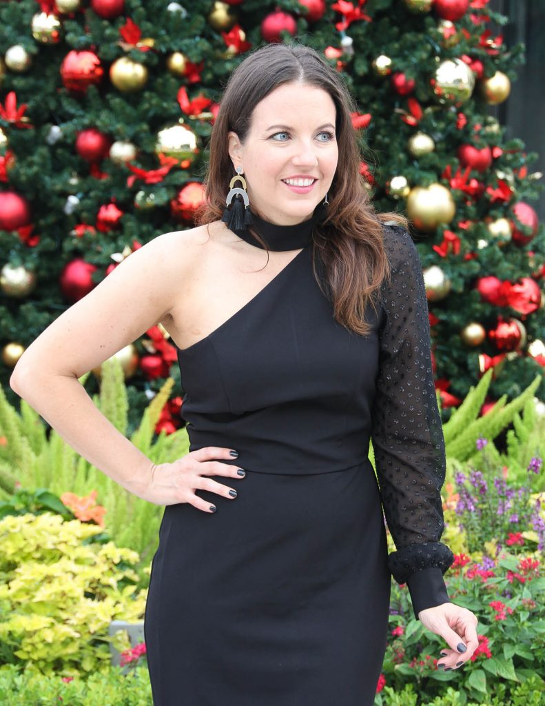 Christmas Party Outfit | Little Black Dress | Statement Earrings with Fringe | Houston Fashion Blogger Lady in Violet