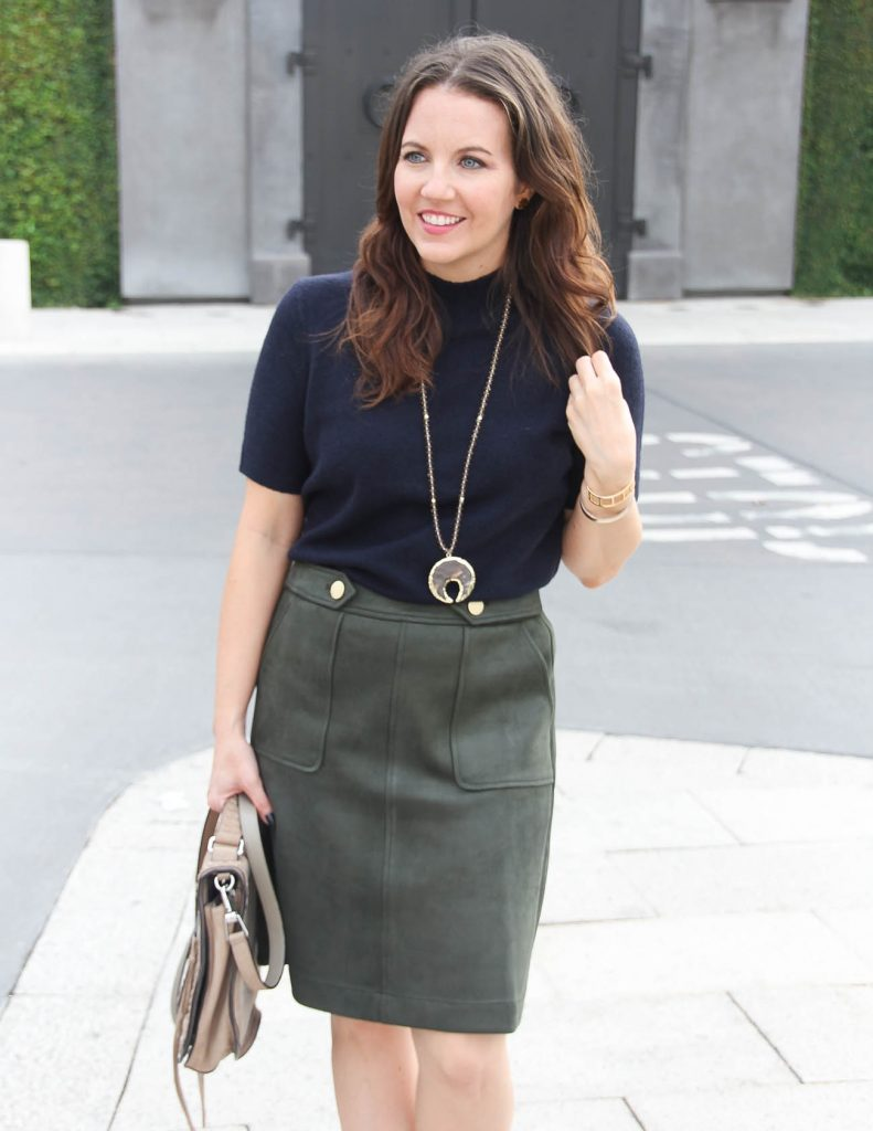 Fall Work Outfit | Navy Sweater | Olive Suede Skirt | Houston Fashion Blogger Lady in Violet