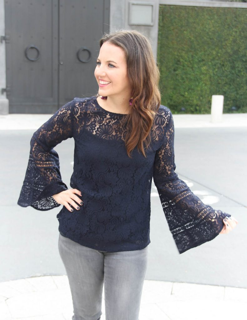 Winter Fashion | Navy Long Sleeve Lace Top | Gray Jeans | Houston Fashion Blogger Lady in Violet