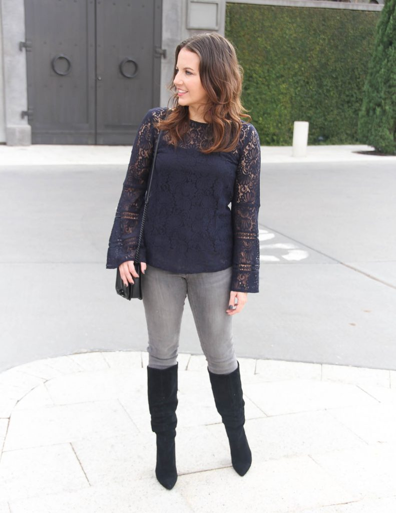 Cold Weather Outfit | Navy Lace Top | Black Boots | Houston Fashion Blog Lady in Violet