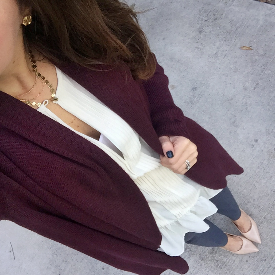 Office Outfit | Gray Slacks | Burgundy Cardigan | Houston Fashion Blog Lady in Violet