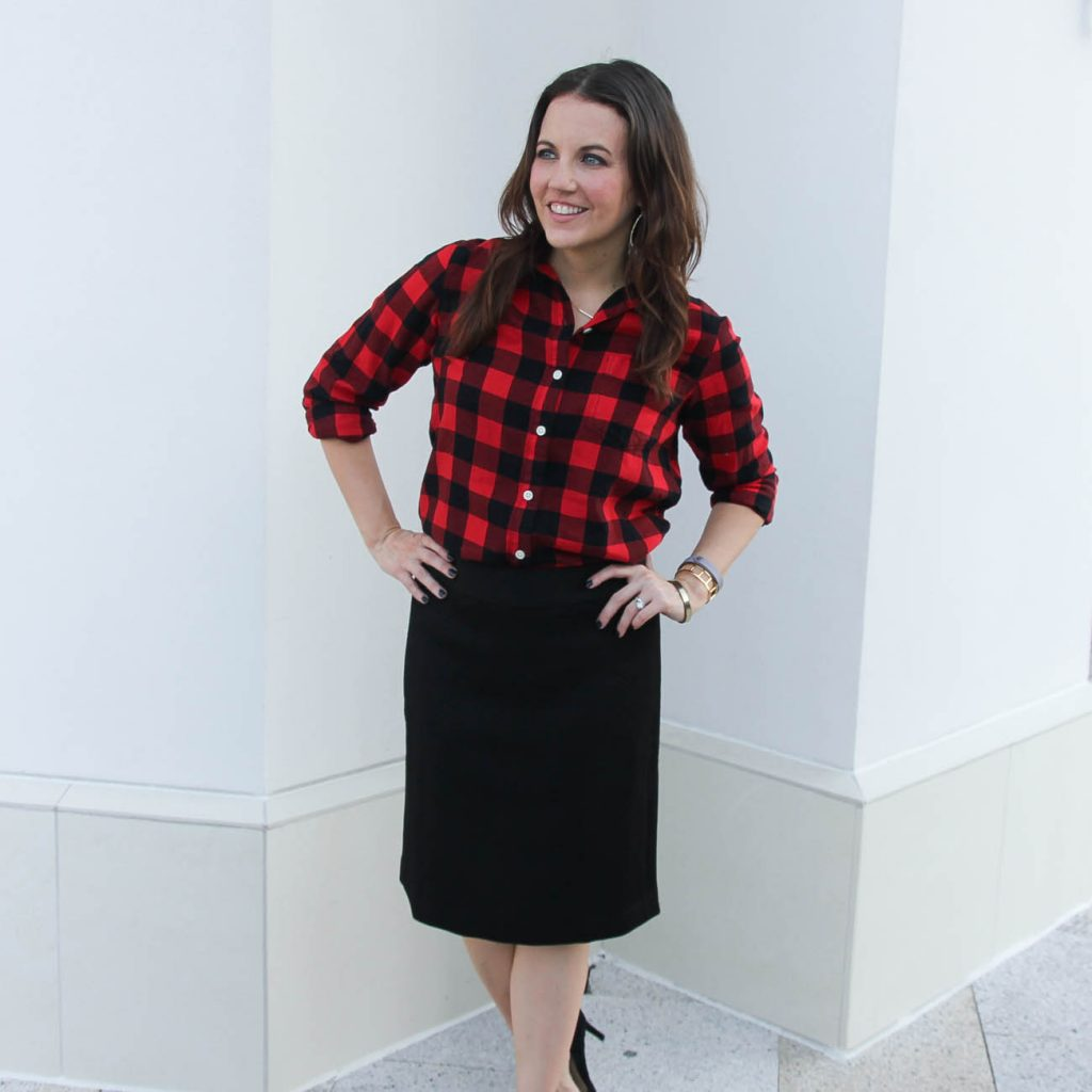 Work Outfit | Red and Black Plaid | Pencil Skirt | Houston Fashion Blogger Lady in Violet