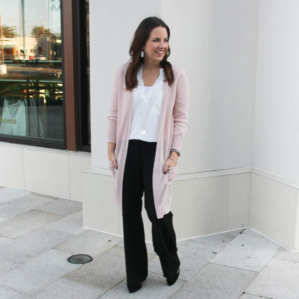 Work Wear | Black Slacks | Pink Cardigan | Houston Fashion Blog Lady in Violet