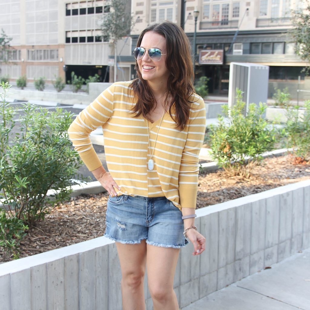 Yellow Striped Sweater | Distressed Shorts | Casual Outfit | Houston Fashion Blog Lady in Violet