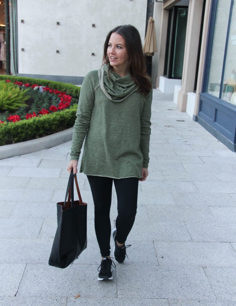 Athleisure Travel Outfit | Black Leggings | Olive Pullover | Houston Fashion Blogger Lady in Violet