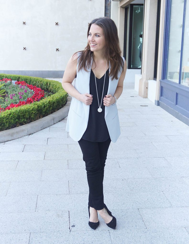 Casual New Year's Eve Outfit | Gray Vest | Black Jeans | Houston Fashion Blogger Lady in Violet