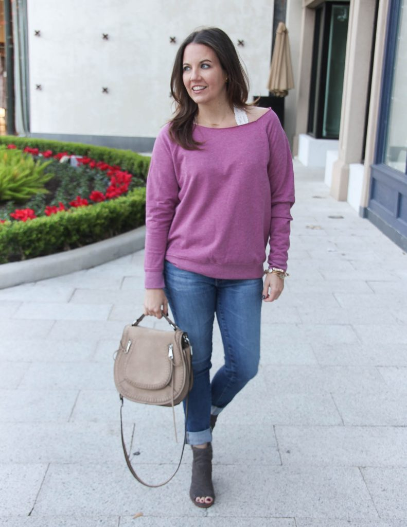 Casual Winter Outfit | Slouchy Sweatshirt | Cuffed Jeans | Houston Fashion Blogger Lady in Violet
