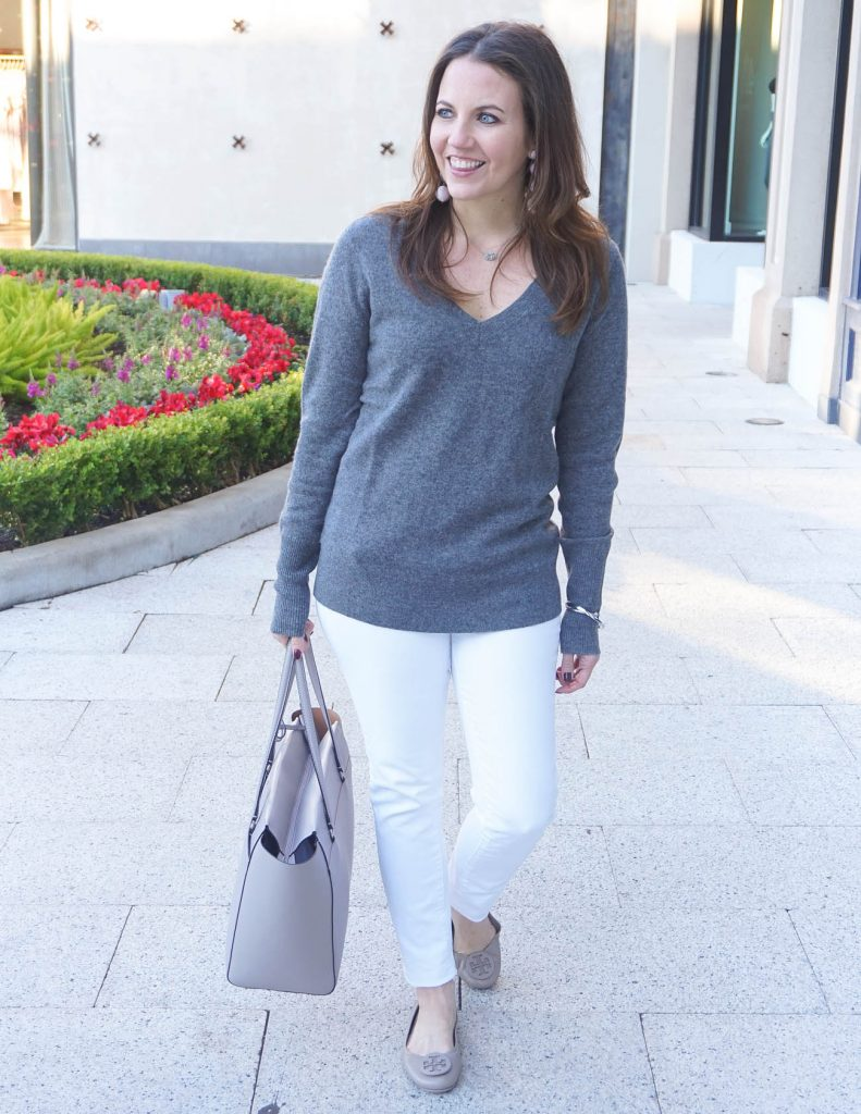 Winter Outfit | Gray Cashmere Sweater | White Jeans | Houston Fashion Blogger Lady in Violet