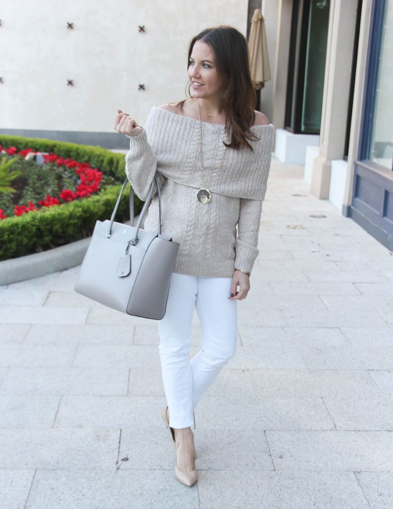 Winter Outfit | Off the Shoulder Sweater | White Skinny Jeans | Houston Fashion Blogger Lady in Violet