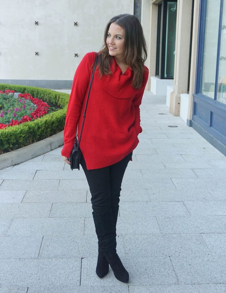 Winter Outfit | Red Cowl Neck Sweater | Suede Boots | Houston Fashion Blogger Lady in Violet