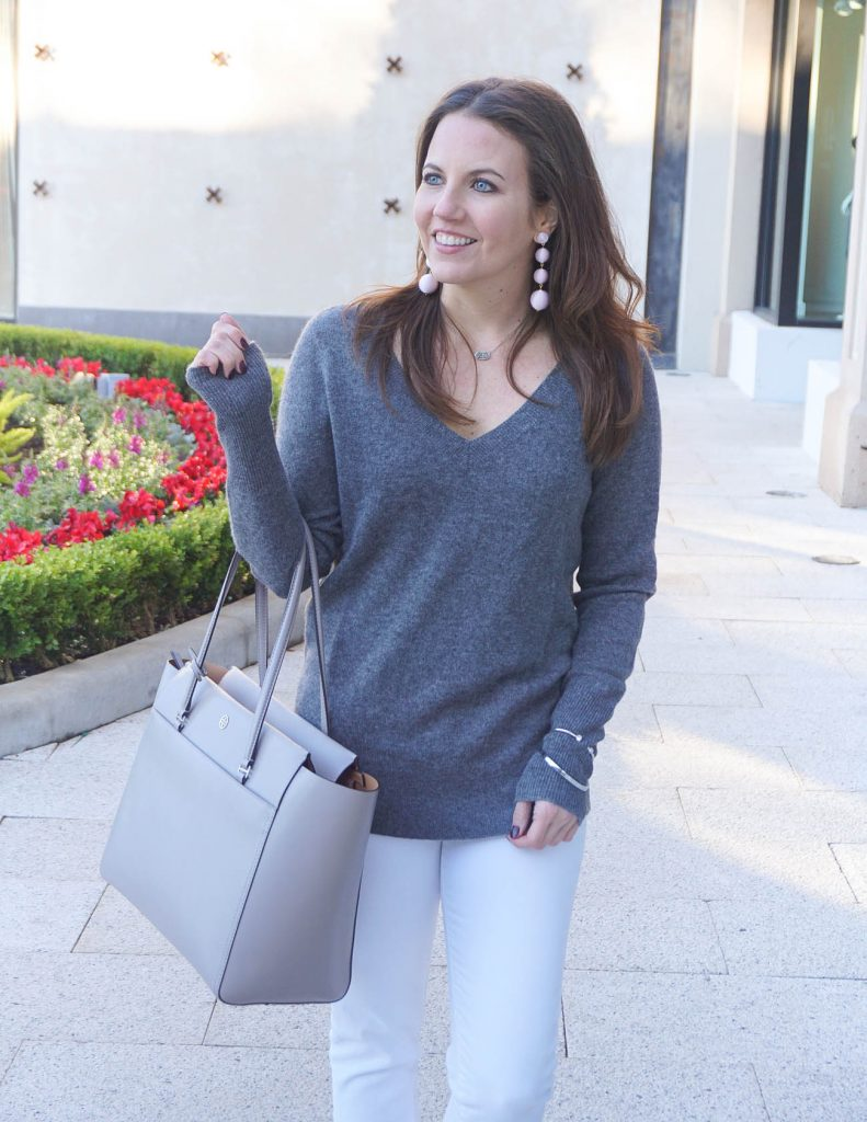Casual Outfit | Gray Cashmere Sweater | Tory Burch Tote Bag | Houston Fashion Blogger Lady in Violet