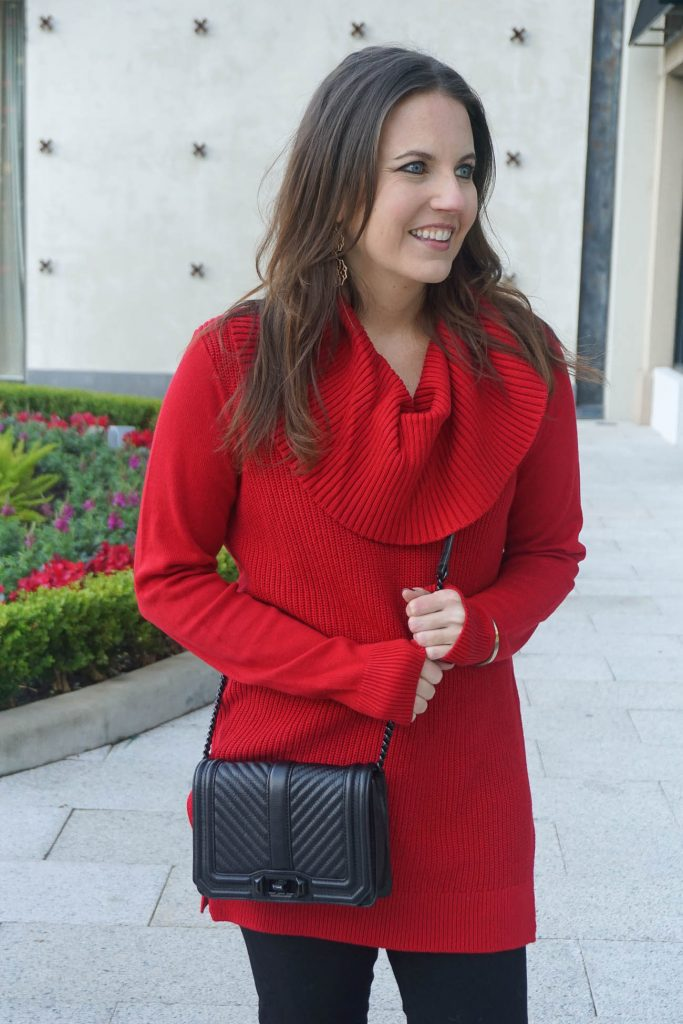 Holiday Outfit | Red Christmas Sweater | Black Crossbody Bag | Houston Fashion Blogger Lady in Violet