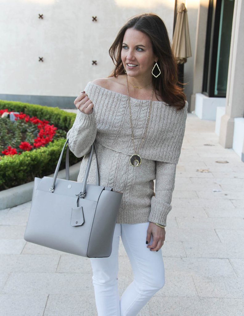 Winter White Outfit | Off the Shoulder Sweater | Tory Burch Tote Bag | Houston Fashion Blogger Lady in Violet