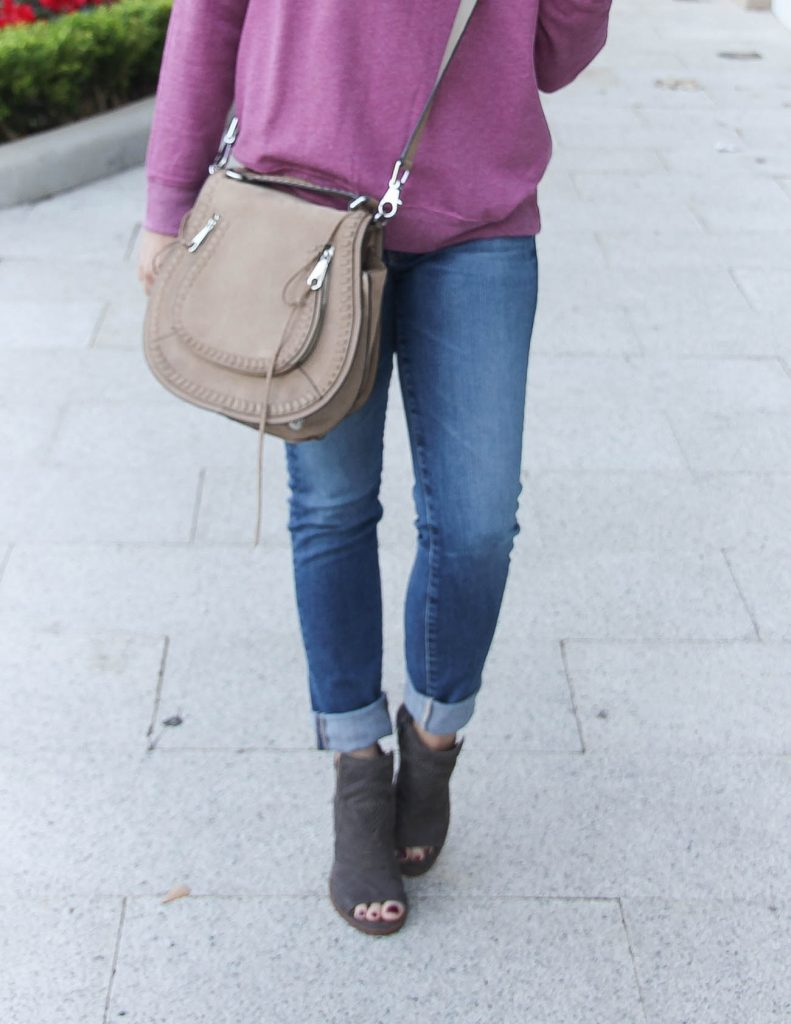 Fall Outfit | Peep Toe Booties | Saddle Crossbody Bag | Houston Fashion Blogger Lady in Violet