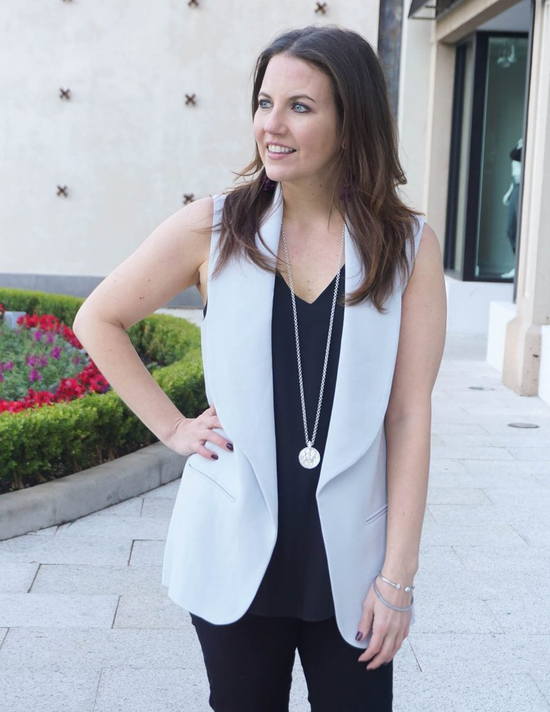 Casual Outfit | Gray Vest | Long Pendant Necklace | Houston Fashion Blogger Lady in Violet