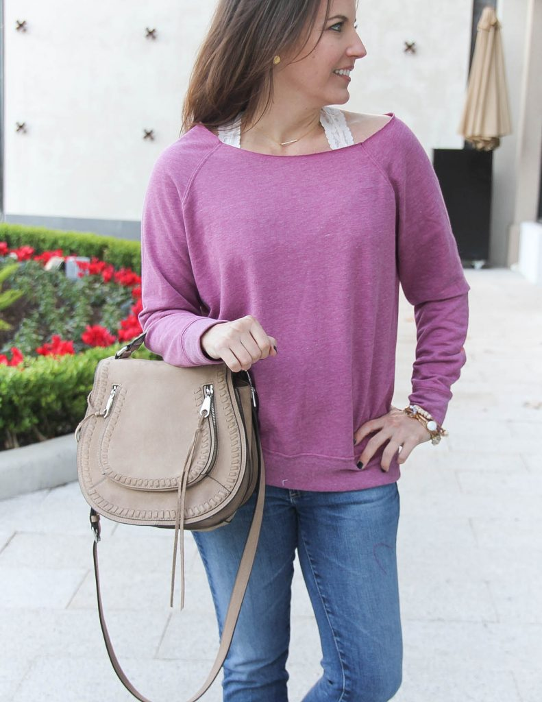 Casual Weekend Outfit | Pink Sweatshirt with Lace Bralette | Houston Fashion Blogger Lady in Violet