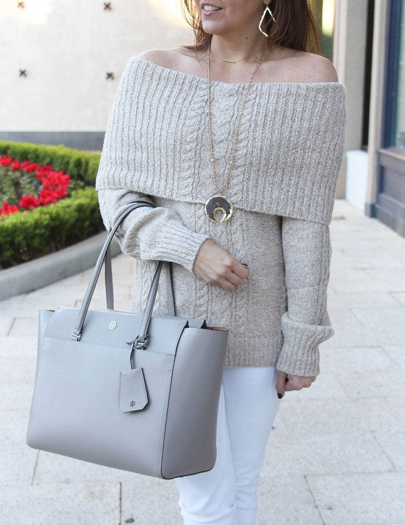Holiday Outfit | Off the Shoulder Sweater | Stone Pendant Necklace | Houston Fashion Blogger Lady in Violet