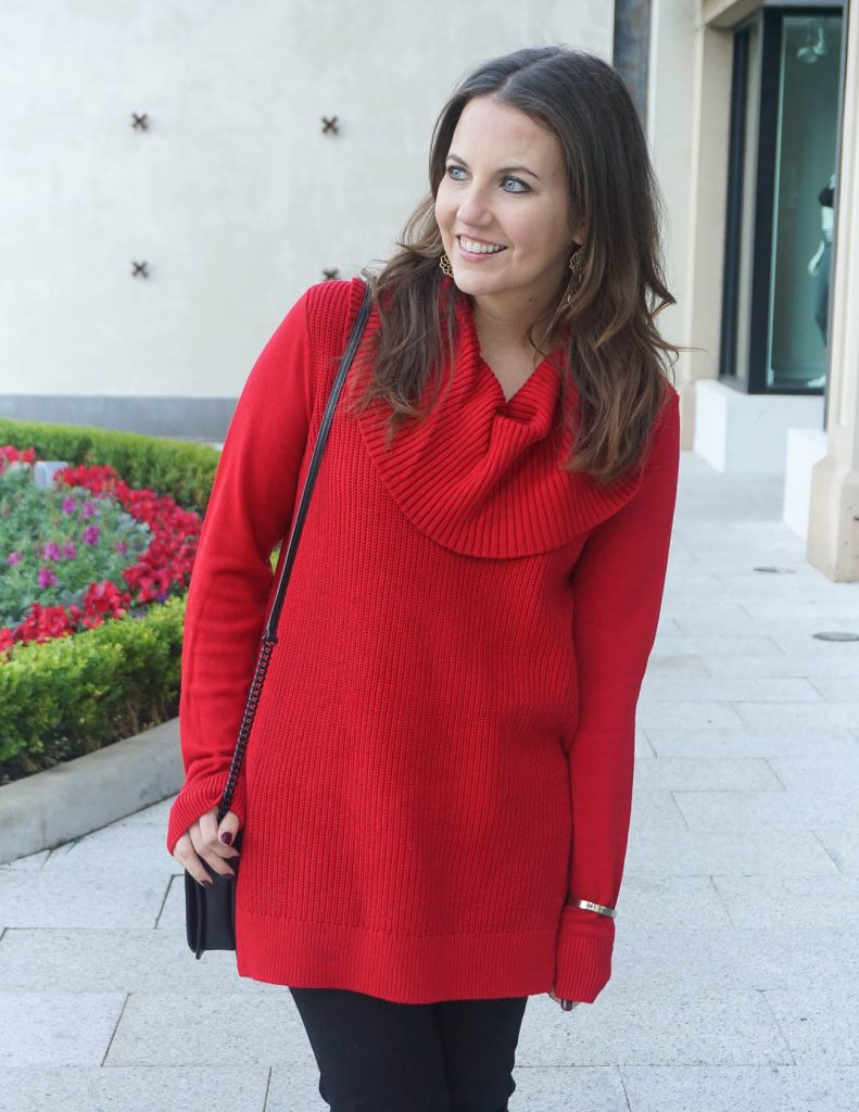 Winter Outfit | Red Cowl Neck Sweater | Houston Fashion Blogger Lady in Violet