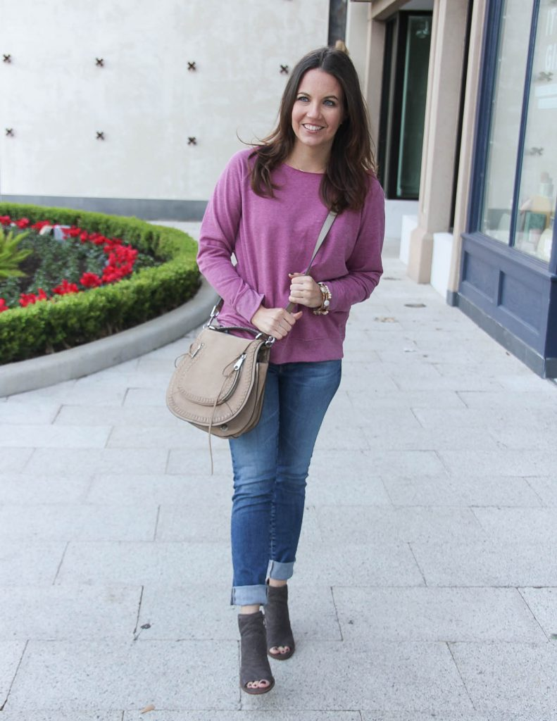Casual Outfit for Weekends | Pink Sweater | Cuffed Jeans | Houston Fashion Blogger Lady in Violet