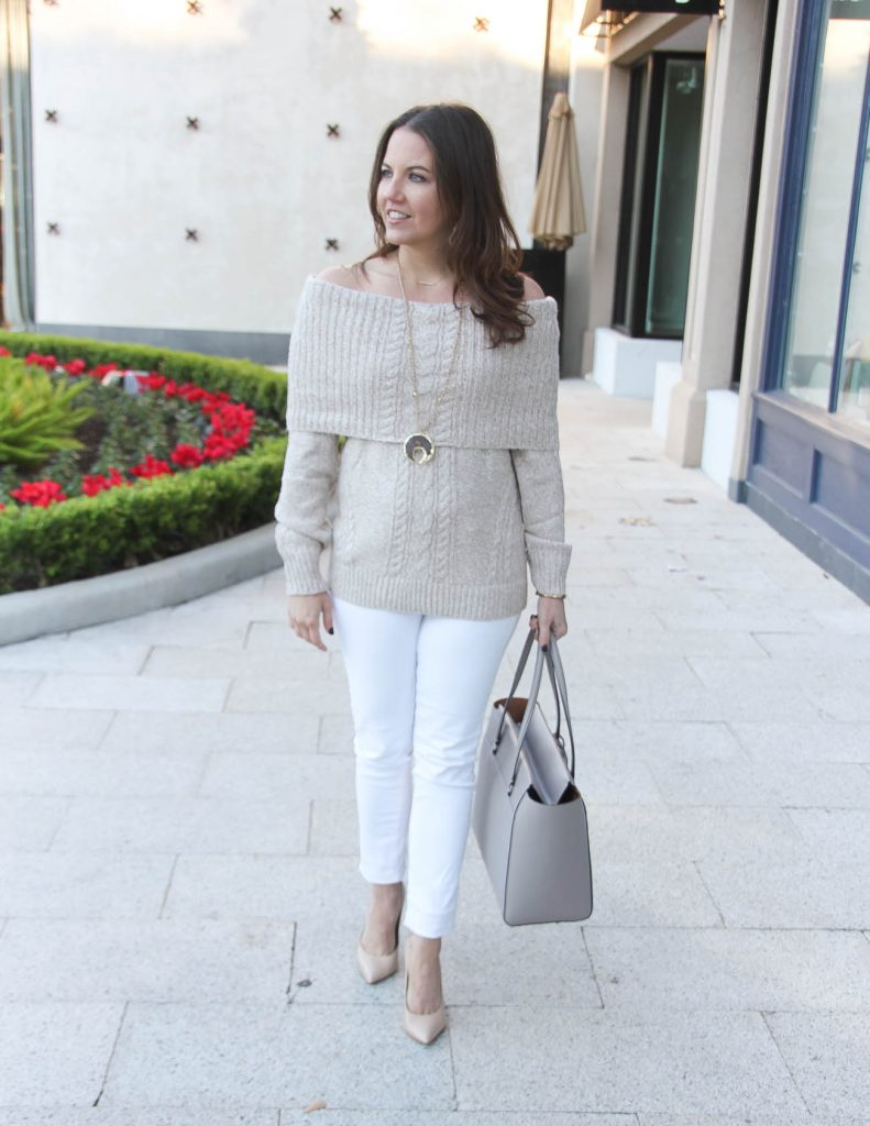 Winter Outfit | Cable Knit Sweater | White Skinny Jeans | Houston Fashion Blogger Lady in Violet